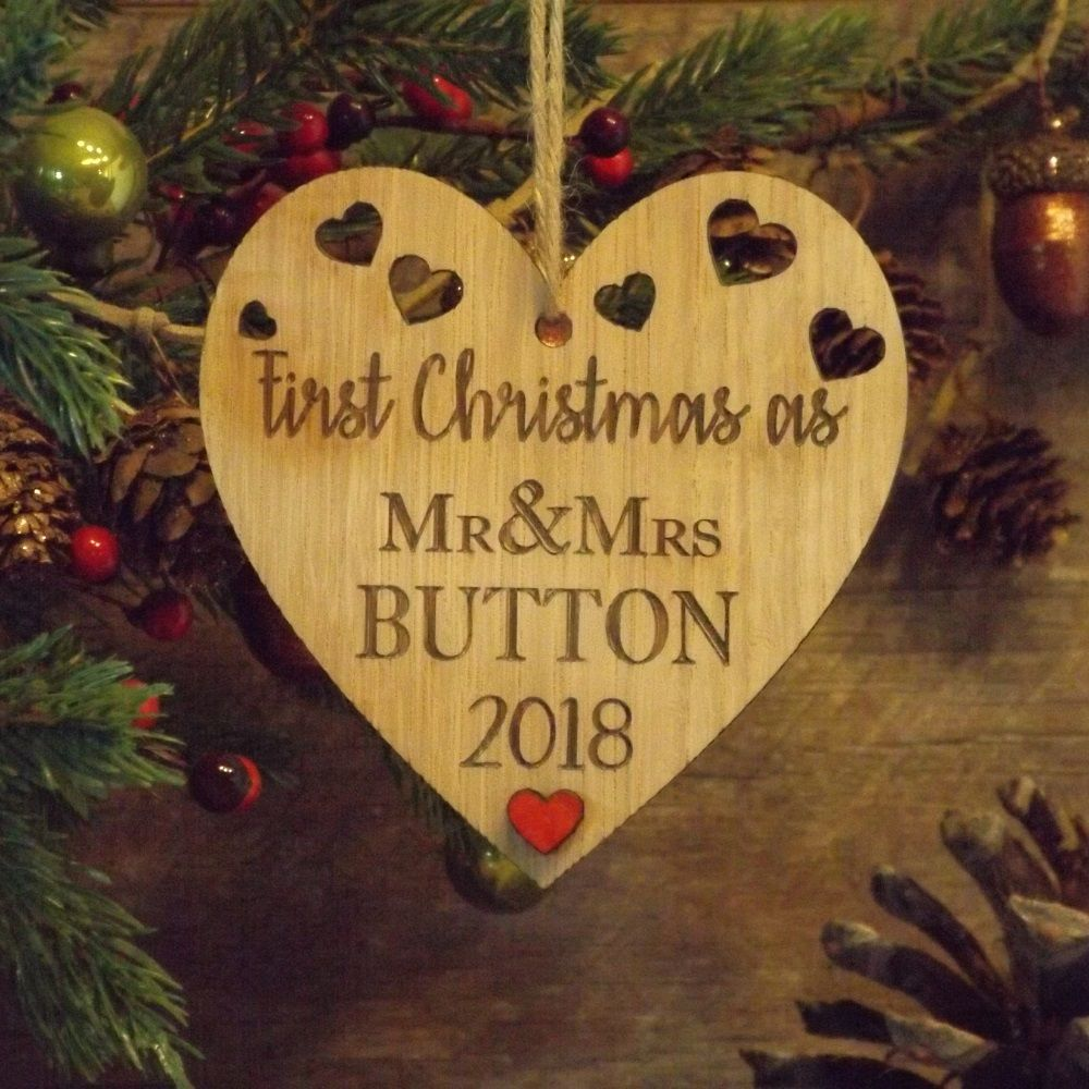 first 1st christmas as mr mrs married personalised heart decoration gift